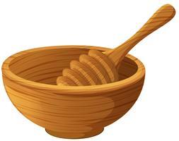 Bol en bois et bâtonnet de miel vecteur