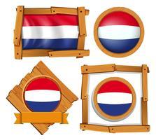 Drapeau néerlandais dans différents cadres vecteur