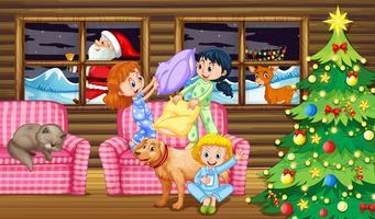 Bataille d'oreillers pour enfants la nuit vecteur