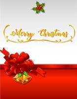Modèle de carte de Noël avec des cloches et un ruban rouge vecteur