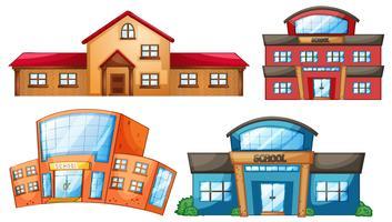 Un ensemble de différents bâtiments scolaires vecteur