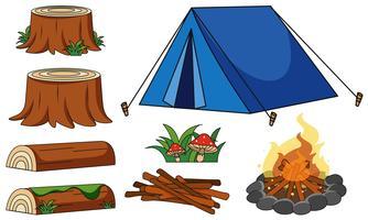 Tente bleue et feu de camp sur fond blanc