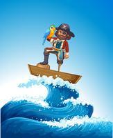 Pirate et perroquet sur un bateau en bois