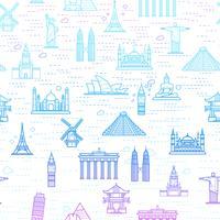 Modèle sans couture des attractions du monde, esquisser le dessin pour votre application.