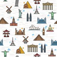 Motif de couleur transparente des attractions du monde, esquisser le dessin pour votre application. vecteur