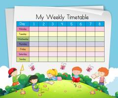 Modèle de calendrier hebdomadaire avec des enfants qui jouent dans le parc