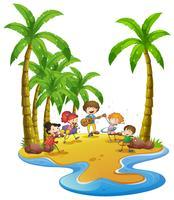 Joyeux enfants jouant des instruments sur l'île