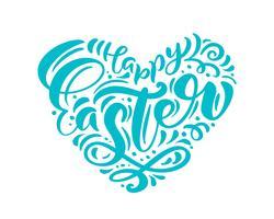 """""""Joyeuses Pâques"""" lettrage de stylo pinceau dessiné à la main en forme de coeur vecteur"""