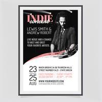 affiche de concert indie de vecteur