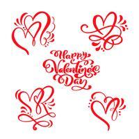 """Ensemble de texte de calligraphie rouge """"Happy Valentine's Day"""" & coeurs vecteur"""