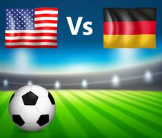 Match de football entre l'Amérique et l'Allemagne vecteur