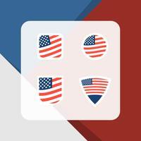 Collection de jeu d'insignes de drapeau américain plat vecteur