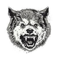 Tête de loup isolée sur blanc