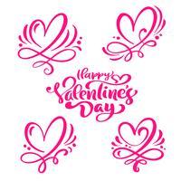"""Ensemble de texte de calligraphie rouge """"Happy Valentine's Day"""" et coeurs vecteur"""
