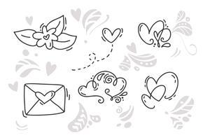 Éléments de vecteur monoline Saint Valentin dessinés à la main. Joyeuse Saint Valentin. Carte de croquis de vacances doodle Design avec coeur. Décor d'illustration isolé pour le Web, le mariage et l'impression