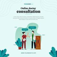 modèle de publication sur les réseaux sociaux, avec illustration médecin, plante et étagère vecteur