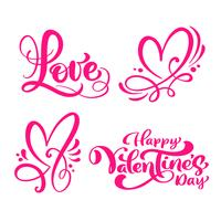 """Ensemble de mots de calligraphie rouges """"Love"""", """"Happy Valentine's Day"""", & coeurs vecteur"""