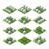 Projection isométrique isométrique de paysage de paysage urbain vecteur