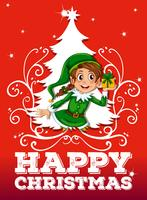 Thème de Noël avec elfe et cadeau vecteur