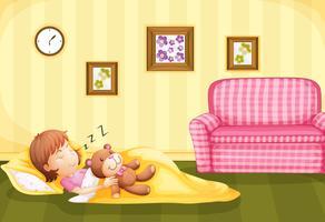 Fille dormant avec ours en peluche sur le sol