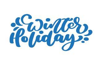 Calligraphie vintage de vacances hiver bleu lettrage texte vectoriel. Pour la page de liste de modèles artistiques, style brochure style, couverture d'idée bannière, flyer impression livret, affiche vecteur