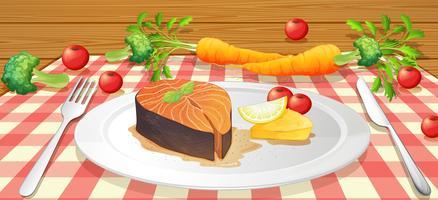 Saumon aux légumes frais vecteur