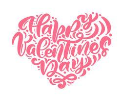 """Calligraphie """"Joyeuse Saint Valentin"""" en forme de coeur vecteur"""
