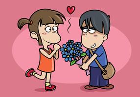 garçon donne des fleurs fille