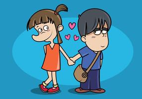 Garçon et fille main dans la main vecteur