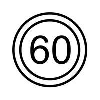 Icône de vecteur vitesse limite 60