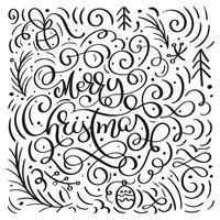 Joyeux Noël sur fond blanc avec des éléments de Noël vecteur s'épanouir de griffonnages de calligraphie. Beau modèle pour un papier d'emballage de cadeaux de luxe, des t-shirts, des cartes de voeux
