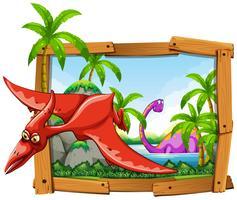 Dinosaures dans cadre en bois