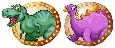 Deux dinosaures sur des badges ronds vecteur