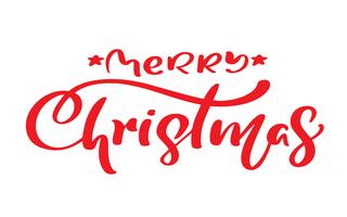 Calligraphie vintage joyeux Noël rouge lettrage texte vectoriel. Pour la page de liste de modèles artistiques, style brochure style, couverture d'idée bannière, flyer impression livret, affiche vecteur