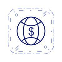icône de vecteur d'argent monde