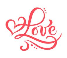 Mot de calligraphie rouge Amour. Lettrage dessiné à la main Vector Valentines Day. Carte de valentine coeur vacances design. décor d'amour pour le web, le mariage et l'impression. Illustration isolée