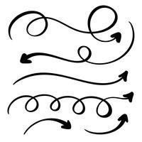 Abstract Vector set de flèches. Style de marqueur fait à la main Doodle. Illustration de croquis isolé pour la note, plan d'affaires, présentation graphique
