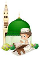 Petit garçon en prière à la mosquée vecteur
