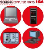 Ordinateurs rétro - équipement, CPU, CD et disquette, ancien ordinateur, eps, vecteur