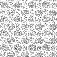 Main dessiné mignon coeur Saint-Valentin s'épanouir et Bonjour amour texte modèle Illustration vectorielle continue pour l'amour et le mariage, carte de voeux et invitation