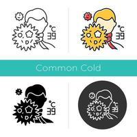 icône du virus de la grippe. haute température. homme avec de la fièvre. rhume. virus de la grippe. symptôme de la maladie de la grippe. épidémie de microbes. design plat, styles linéaires et de couleur. illustrations vectorielles isolées vecteur