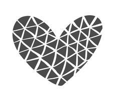Silhouette d'icône de coeur dessiné main scandinave Velentines Day. Vecteur simple symbole de la Saint-Valentin contour. Élément de conception isolé pour le Web, le mariage et l'impression