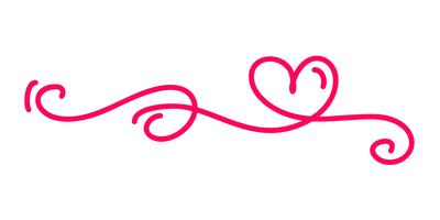 monoline rouge vintage Vector Saint Valentin dessinés à la main calligraphiques deux coeurs. Illustration de lettrage de calligraphie. Élément de conception de vacances valentine. Icon love decor pour le Web, le mariage et l'impression. Isolé
