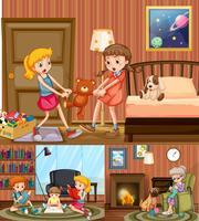 Enfants et grand-mère à la maison vecteur