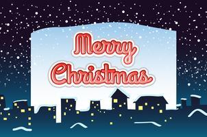 Carte de Noël avec fond de neige qui tombe vecteur