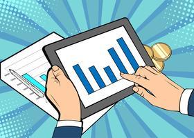 Homme d'affaires calendrier croissance tablette déjeuner. Bande dessinée illustration vectorielle dans un style rétro pop art.