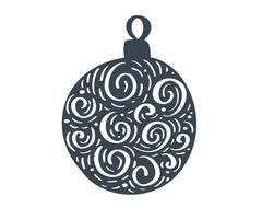 Handdraw boule de Noël scandinave avec ornement s'épanouir silhouette icône vecteur Symbole de contour simple cadeau. Isolé sur le kit de signe web blanc de photo d'épinette stylisée