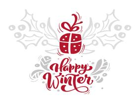 Calligraphie d'hiver joyeux Noël rouge lettrage texte vectoriel avec des éléments de Noël dans un style scandinave. Typographie créative pour affiche de carte de voeux de vacances