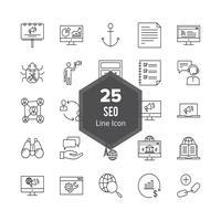 Ligne d'optimisation de moteur de recherche SEO 25 Icon Set