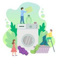 buanderie avec de minuscules personnages chargeant une grande machine à laver, design de style plat. vecteur